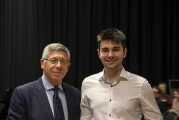 Dr Paul Siklos presented James Maclean with the Stephen Siklos Maths Prize