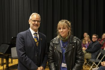 John Weeds from the Old Collyerians' Association presented Grace Cummins with Creative Writing Prize.